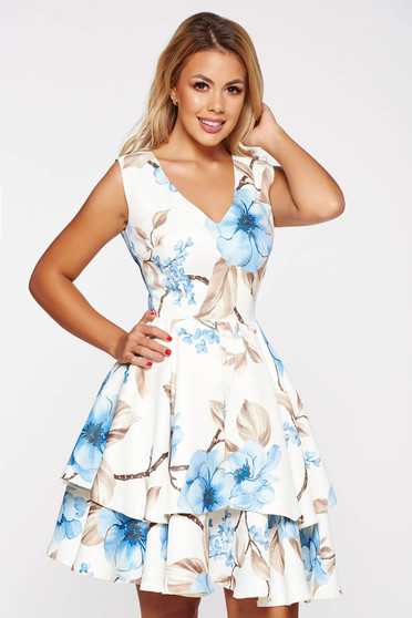 White elegant cloche dress soft fabric with floral prints