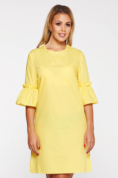 StarShinerS yellow casual flared short cut dress nonelastic cotton