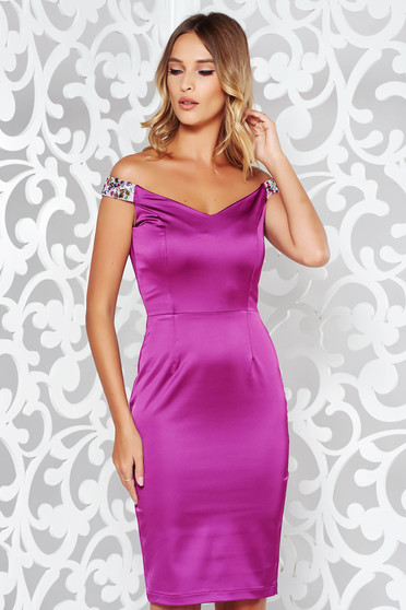 StarShinerS purple occasional pencil dress off shoulder from satin fabric texture with crystal embellished details