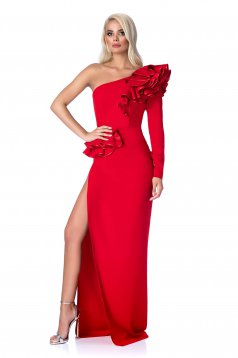 Ana Radu red occasional dress with tented cut with ruffle details from elastic and fine fabric