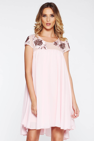 StarShinerS rosa dress occasional flared with inside lining voile fabric lace and sequins details