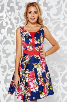 Darkblue casual cloche dress thin fabric with floral prints