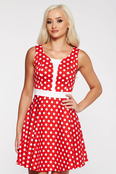 Red casual cloche dress thin fabric dots print