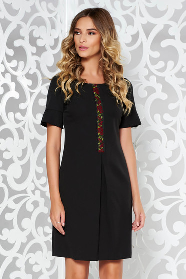 Black elegant a-line dress from elastic and fine fabric front embroidery