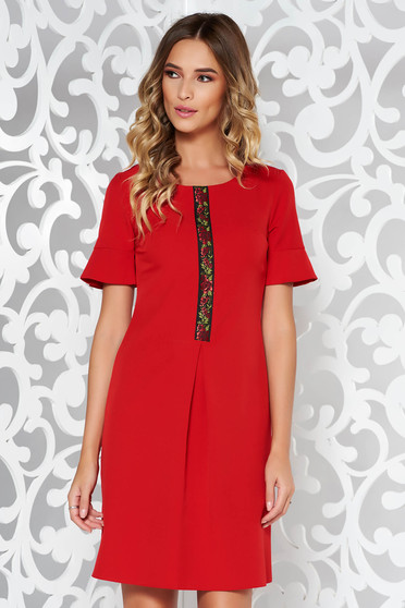 Red elegant a-line dress from elastic and fine fabric front embroidery