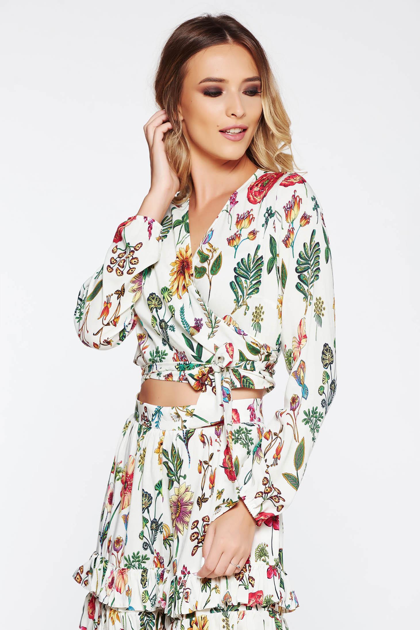Bluza dama StarShinerS crem casual cu decolteu din voal cu imprimeuri florale