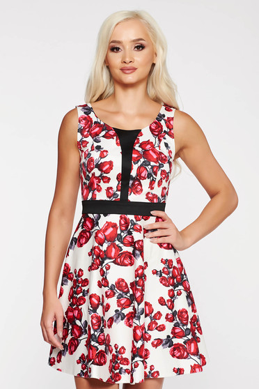 White casual cloche dress thin fabric with floral prints