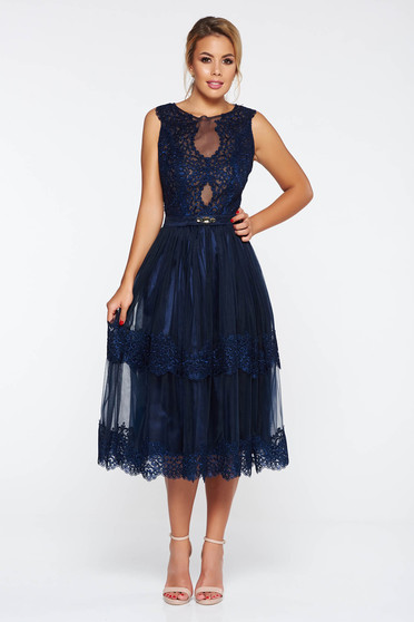 LaDonna darkblue occasional flaring cut dress with lace details with v-neckline