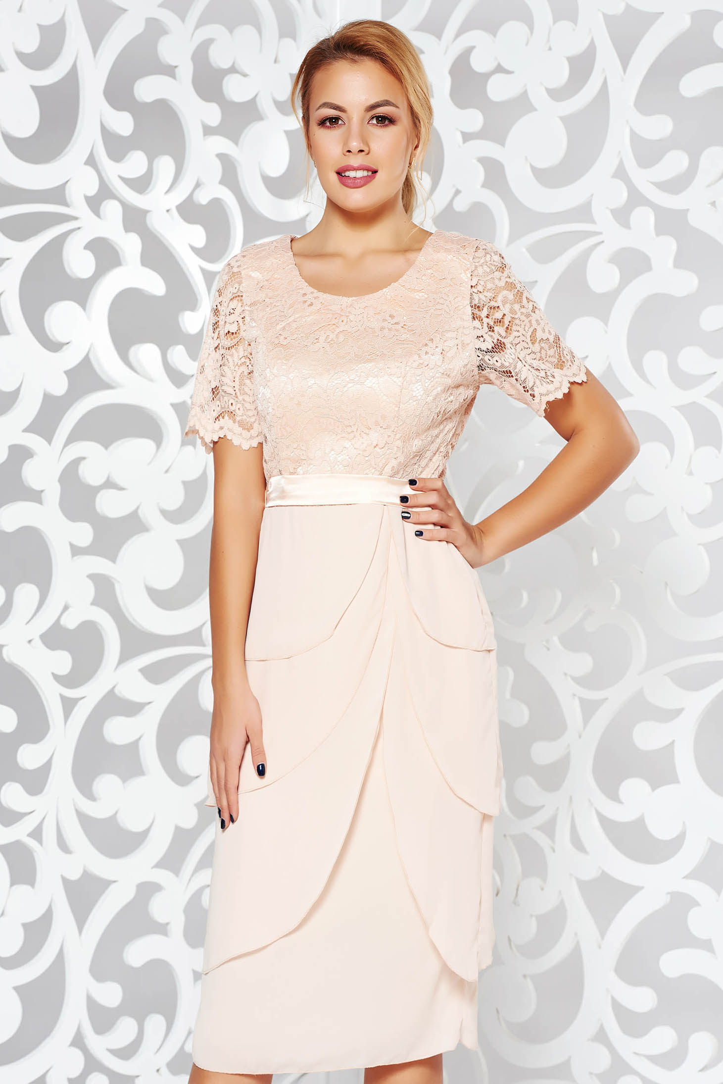 Cream occasional midi dress from laced fabric with ruffle details