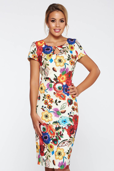 Cream elegant dress with tented cut with floral prints soft fabric
