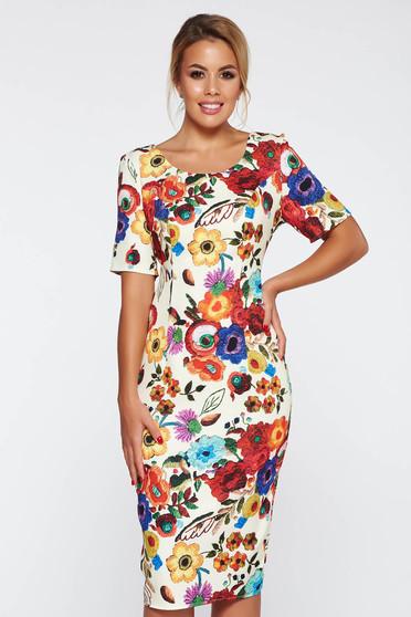 Cream elegant pencil dress with floral prints slightly elastic fabric