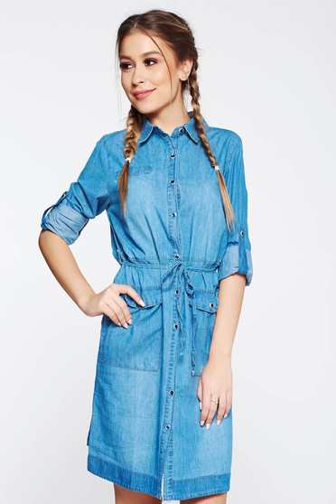 SunShine blue dress casual with straight cut denim is fastened around the waist with a ribbon with pockets
