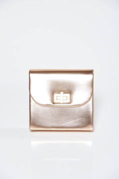 Gold bag clutch occasional from ecological leather with metallic aspect