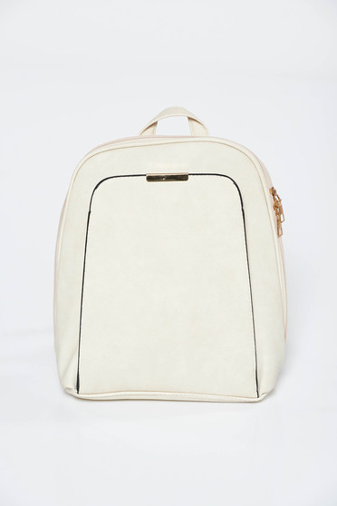 Cream backpacks casual from ecological leather with metallic aspect