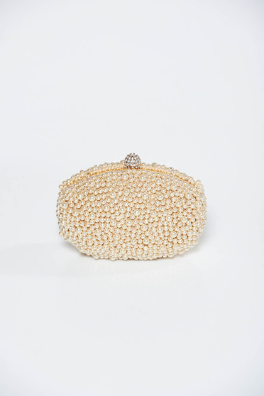 Cream bag clutch long chain handle with pearls elegant