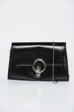 Black bag clutch from ecological leather metallic chain accessory