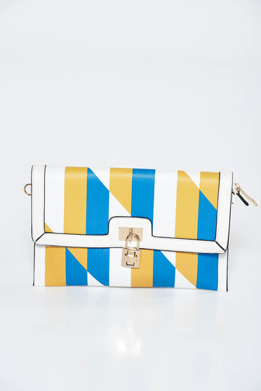 Yellow bag clutch from ecological leather with metalic accessory