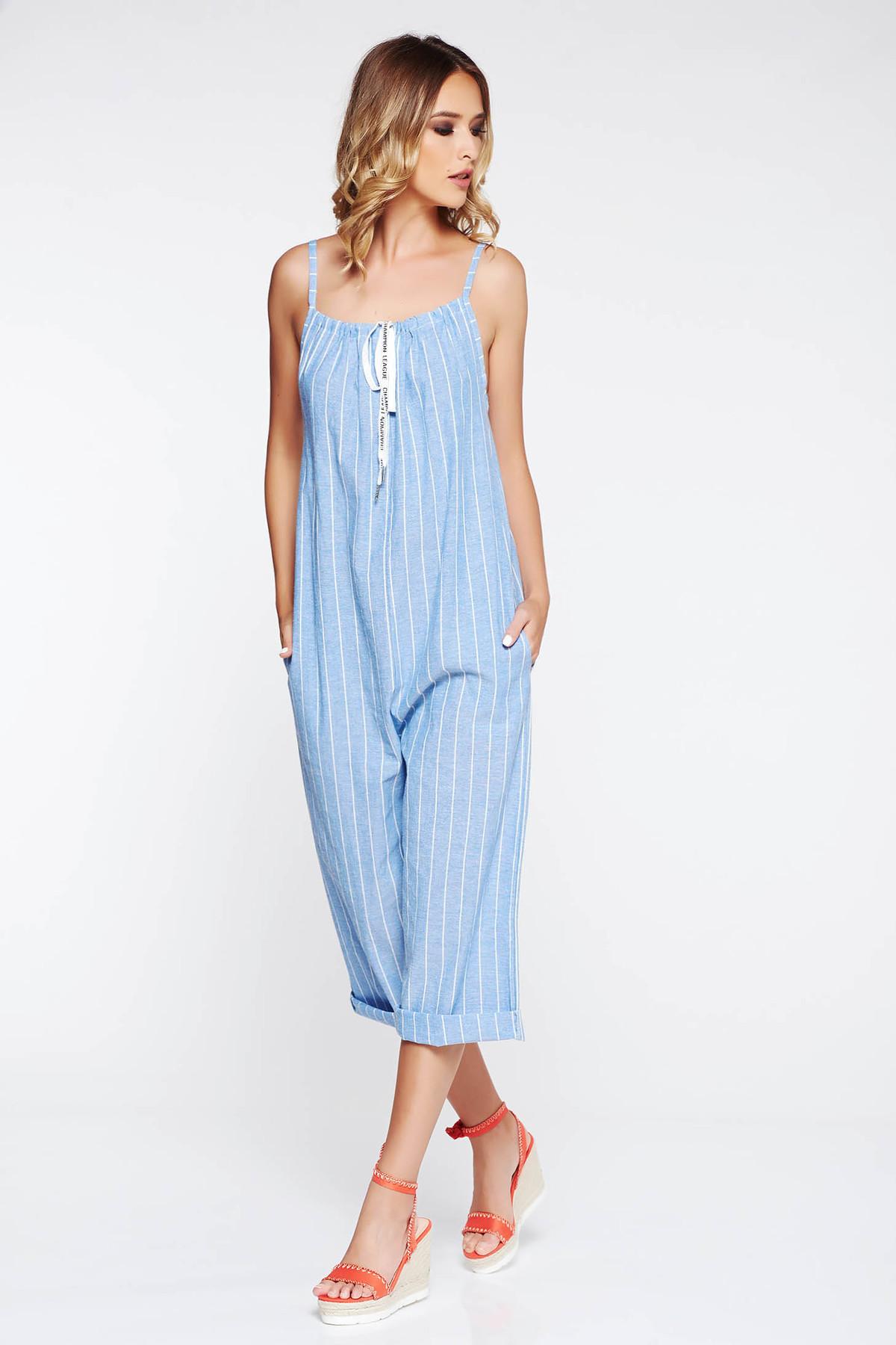 Salopeta SunShine albastra casual cu croi larg cu buzunare accesorizata cu snur