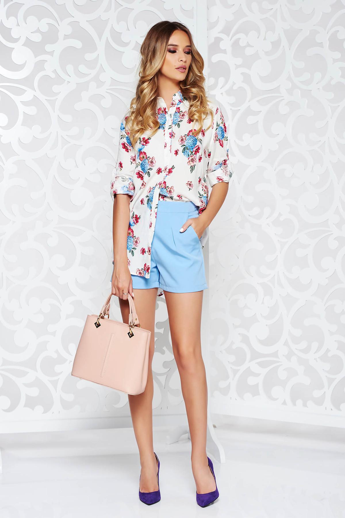 Camasa dama SunShine alba office cu croi larg din material usor transparent cu imprimeuri florale