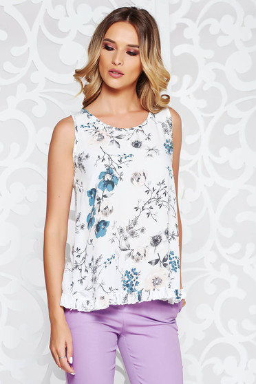 SunShine white top shirt casual flared airy fabric with ruffle details with floral prints