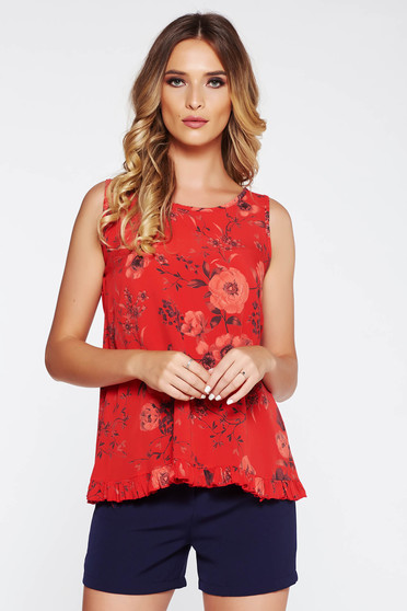 SunShine red top shirt casual flared airy fabric with ruffle details with floral prints