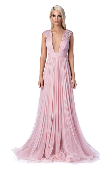 Ana Radu rosa occasional cloche dress with small beads embellished details with embroidery details with push-up cups