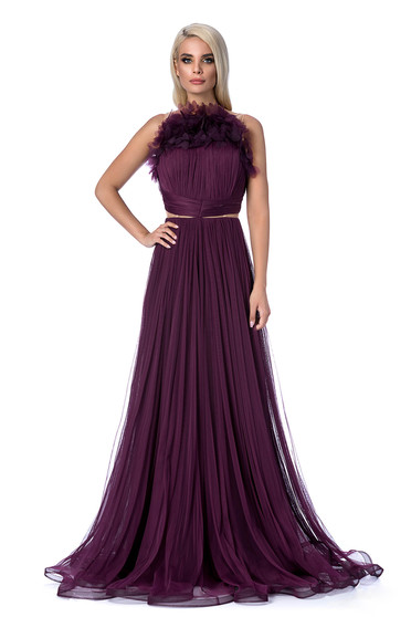 Dress purple Ana Radu occasional long cloche from tulle bare back