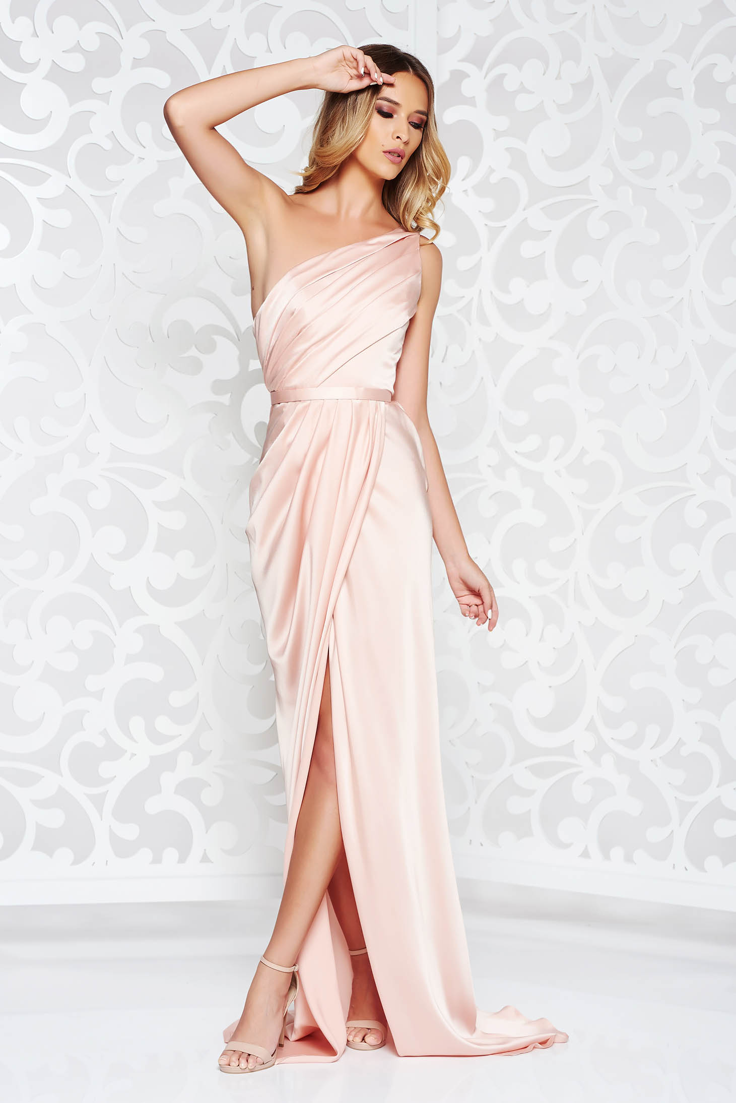 Ana Radu peach occasional mermaid dress from satin fabric texture accessorized with tied waistband