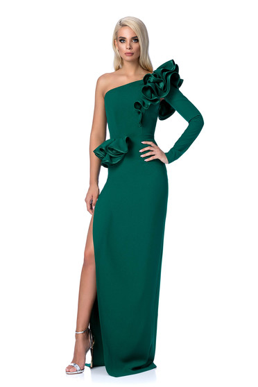 Ana Radu green occasional dress with tented cut with ruffle details from elastic and fine fabric