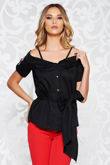 SunShine black women`s blouse casual both shoulders cut out accessorized with tied waistband
