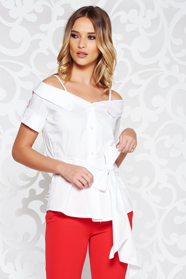SunShine white women`s blouse casual both shoulders cut out accessorized with tied waistband