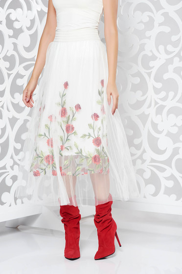 SunShine white skirt casual embroidered from tulle with inside lining high waisted