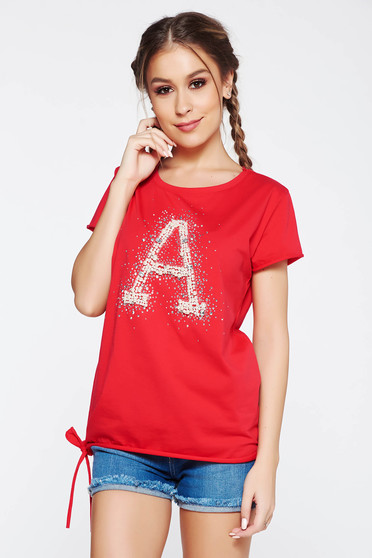 SunShine red t-shirt casual elastic cotton with easy cut with pearls with crystal embellished details