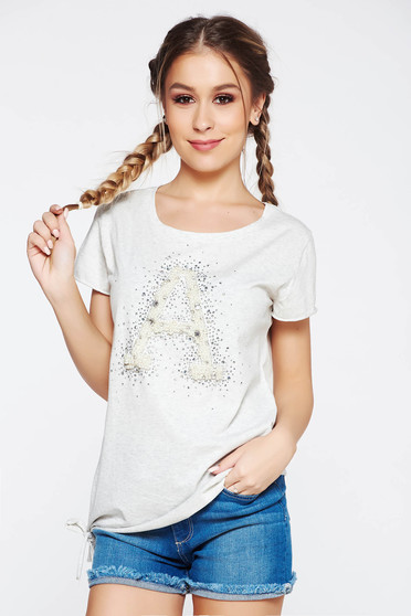 SunShine grey t-shirt casual elastic cotton with easy cut with pearls with crystal embellished details
