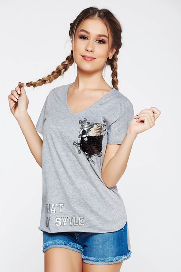 SunShine grey t-shirt casual cotton flared with print details with sequin embellished details