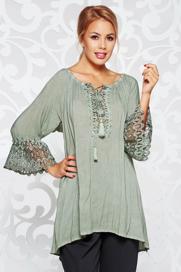 SunShine khaki women`s blouse casual with easy cut airy fabric bell sleeves with laced sleeves