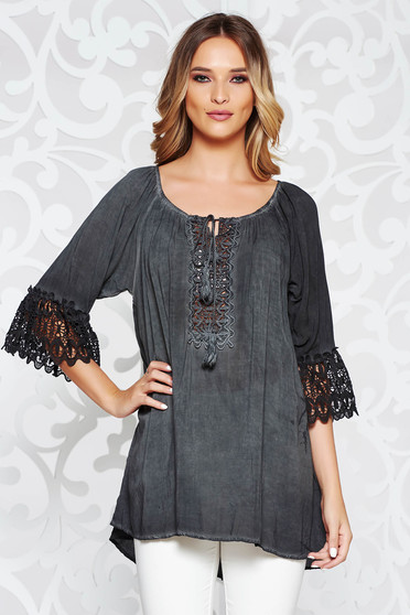 SunShine darkgrey women`s blouse casual with easy cut airy fabric bell sleeves with laced sleeves