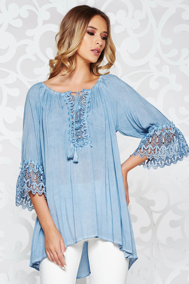 SunShine lightblue women`s blouse casual with easy cut airy fabric bell sleeves with laced sleeves