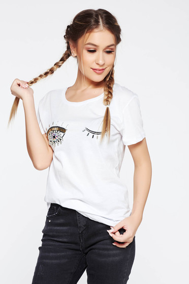 White t-shirt casual flared cotton with crystal embellished details