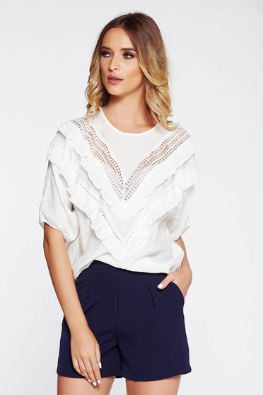 SunShine white women`s blouse casual flared airy fabric with ruffles on the chest large sleeves