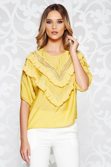 SunShine yellow women`s blouse casual flared airy fabric with ruffles on the chest large sleeves