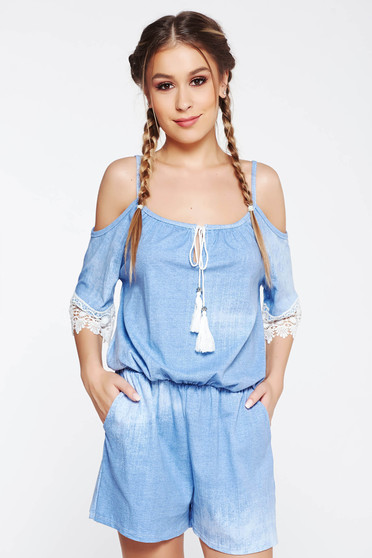 SunShine blue jumpsuit casual flared with elastic waist both shoulders cut out with lace details