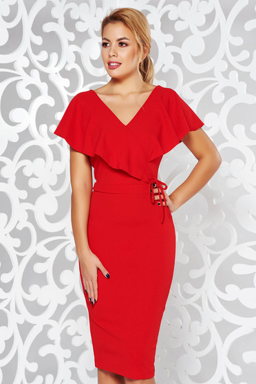 StarShinerS red dress elegant pencil from elastic fabric with v-neckline