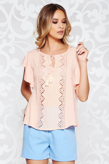 Peach women`s blouse casual flared transparent chiffon fabric large sleeves