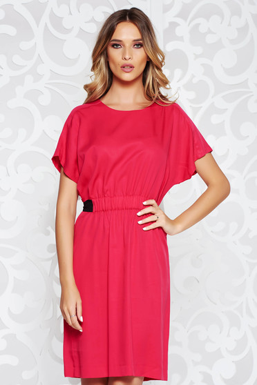 Fuchsia daily flared dress airy fabric with elastic waist