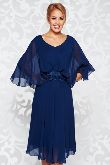 Darkblue occasional flared dress voile fabric with inside lining with lace details