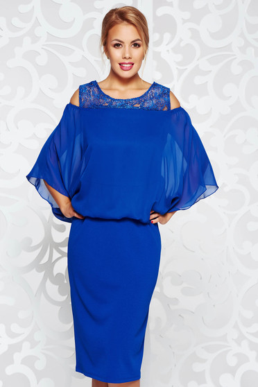 Blue dress occasional pencil from elastic fabric from veil with lace details