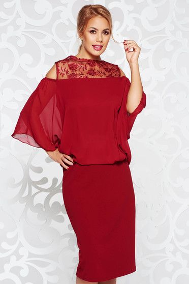 Burgundy dress occasional pencil from elastic fabric from veil with lace details