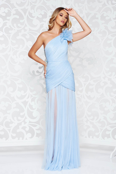 Ana Radu lightblue dress luxurious from tulle with inside lining one shoulder corset