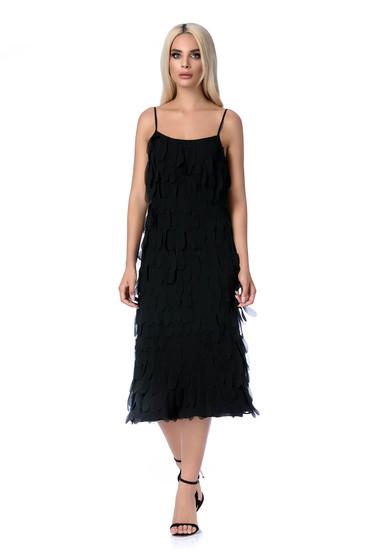 Ana Radu black dress luxurious with straight cut with straps midi